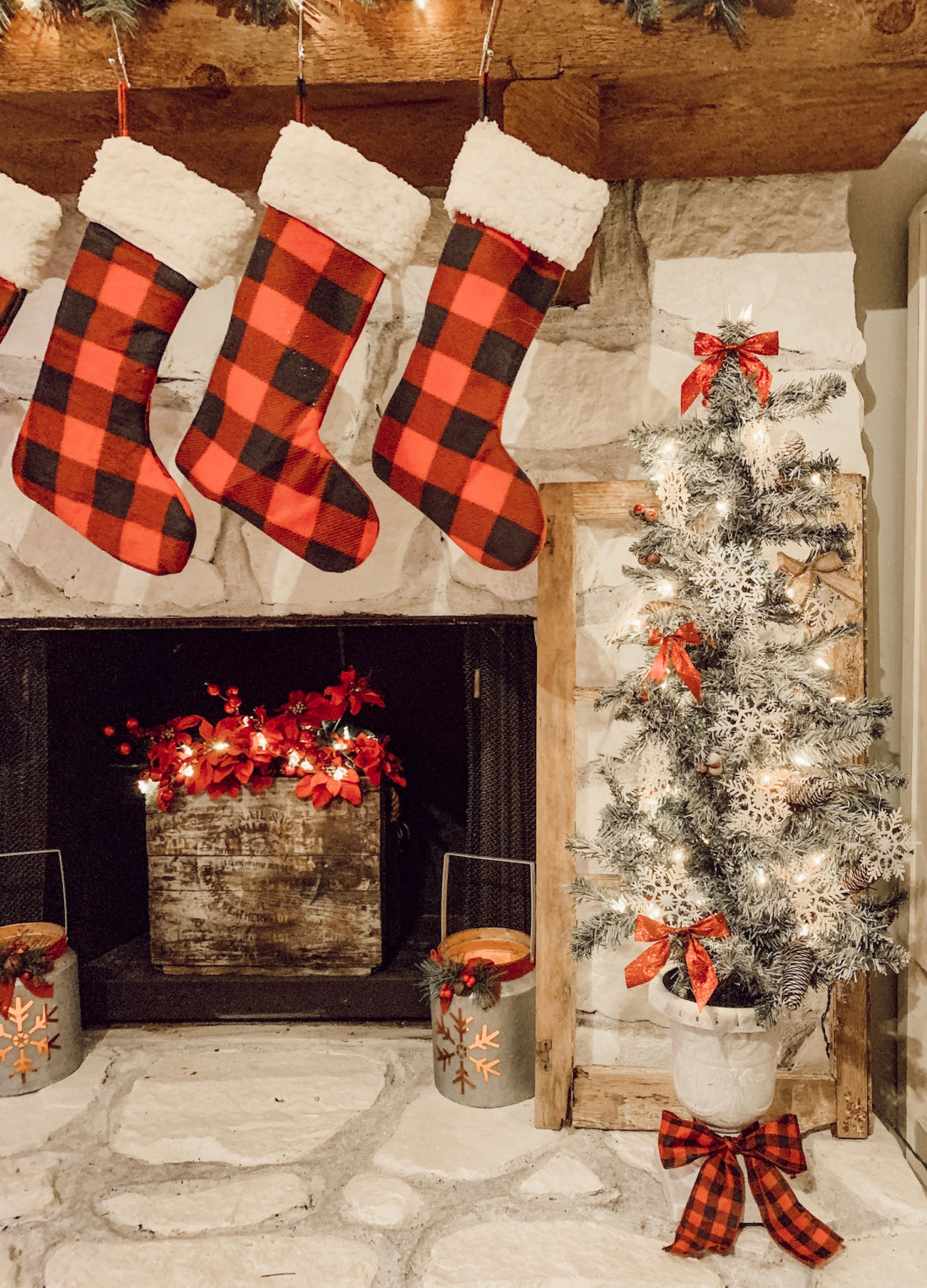another view of the plaid stockings by the fireplace