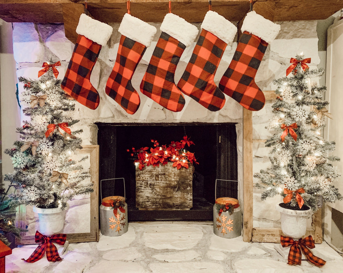 plaid stockings over the fireplace