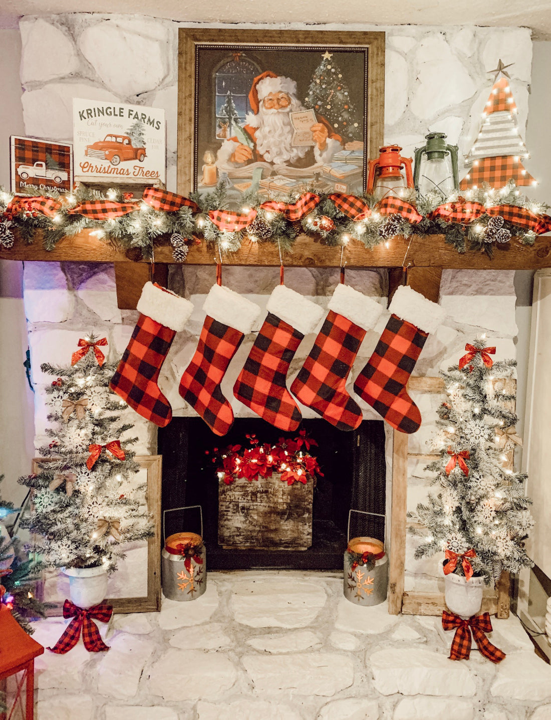 stockings, christmas tree, christmas mantel inspiration