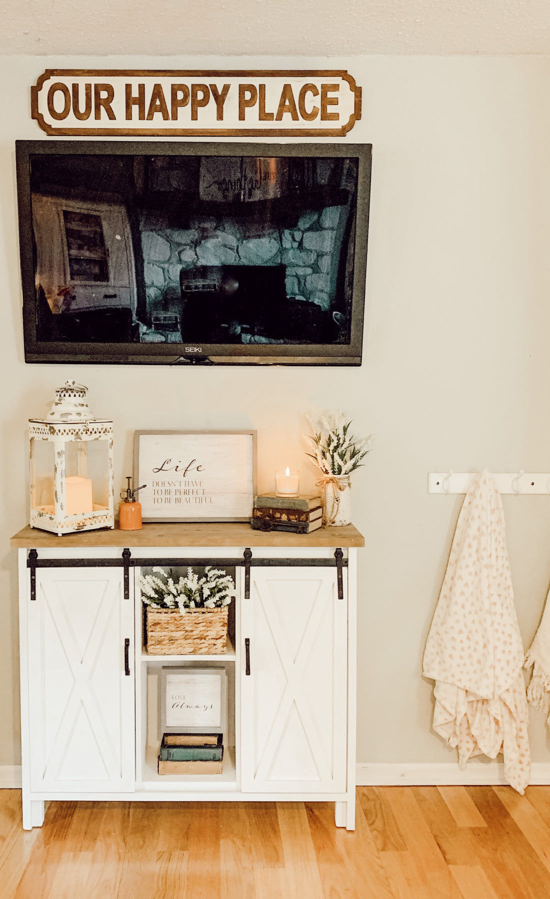 this refreshed entertainment center is one happy place