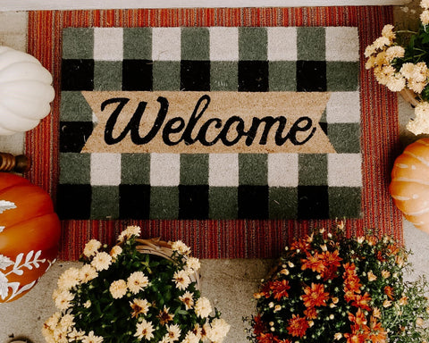 welcome mat, fall front porch, fall doormat