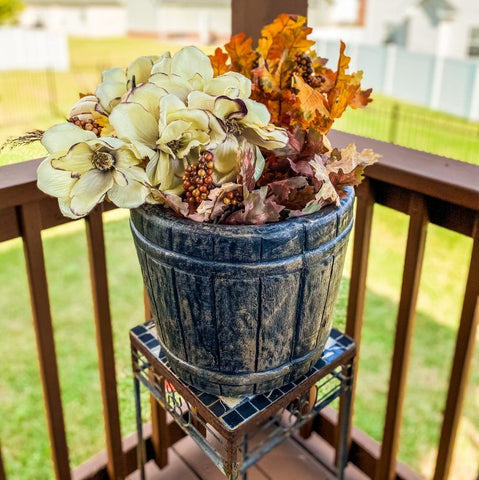 floral, fall floral, planter