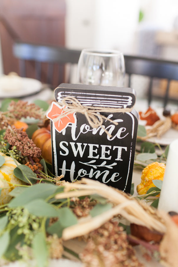 home sweet home, home accents, fall accents, tablescape
