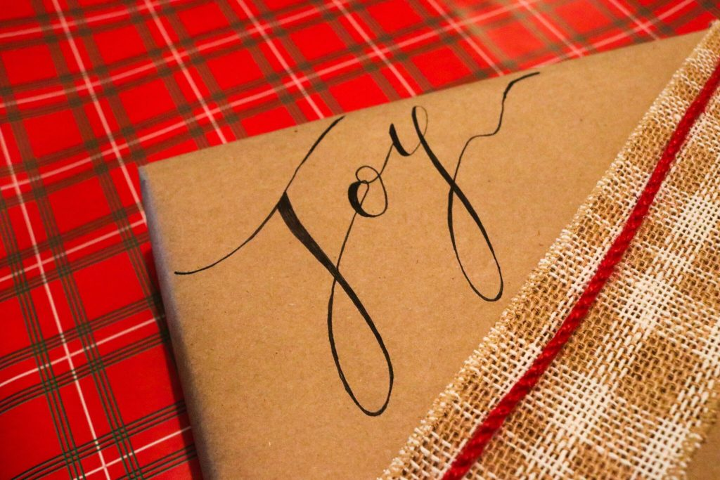 simple wrapping paper with nice lettering via a sharpie