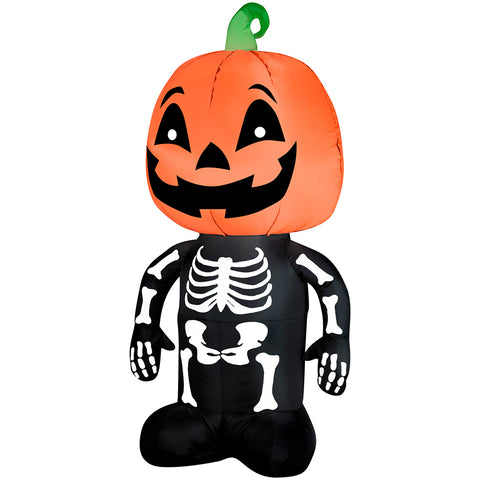 "42"" Airblown Skeleton Pumpkin Head"