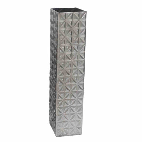 "19"" Silver Quilted Square Metal Vase"