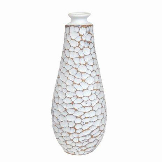 "13"" White & Brown Scale Resin Vase"