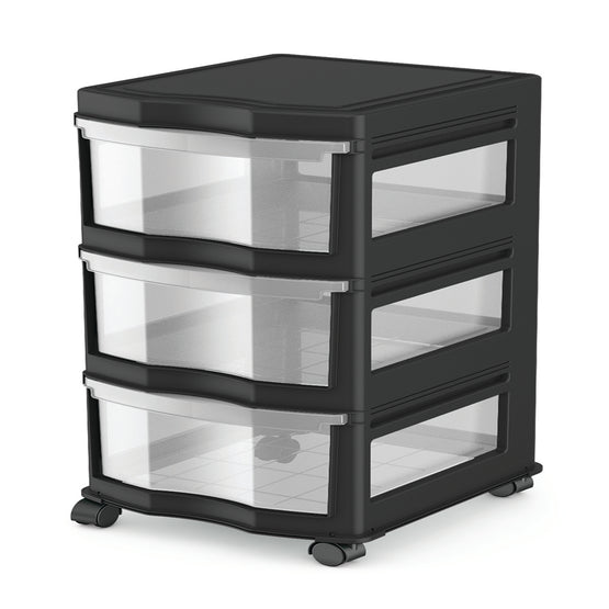 3 Drawer Cart Wide (2 Colors)