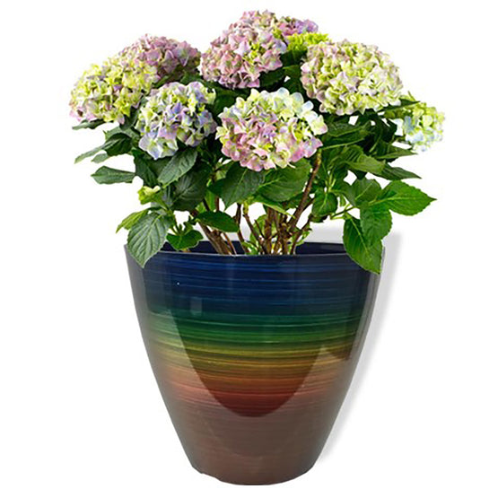 "13"" Glazed Rainbow Planter"