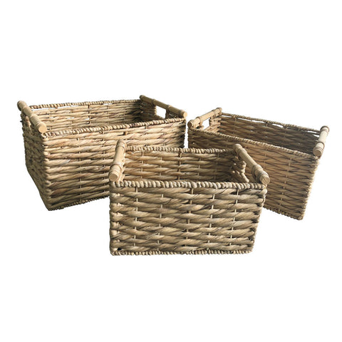 Rectangular Basket with Wood Handle (3 Sizes)