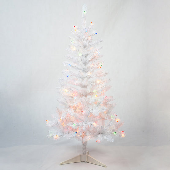 4' Pre-Lit White Christmas Tree with Multi Lights