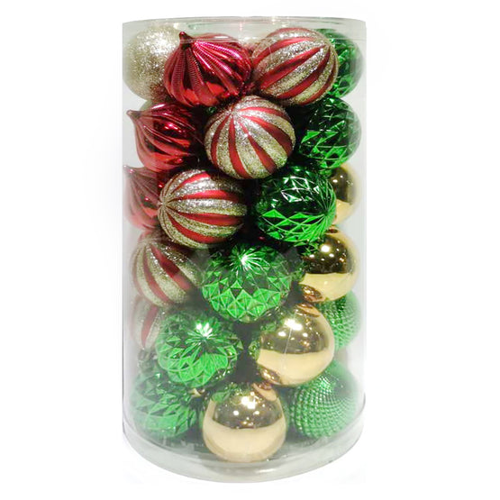 41-Count 60mm Shatterproof Ornaments Red/Green