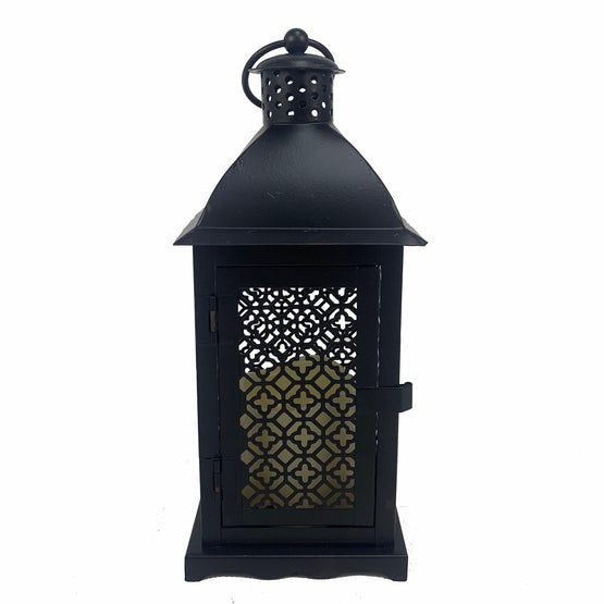 11 In. Metal LED Black Lantern