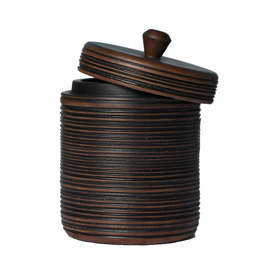 "7"" Brown Striped Resin Jar Vase W/ Lid"
