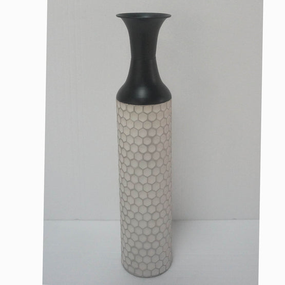 "24"" White Comb Metal Vase"