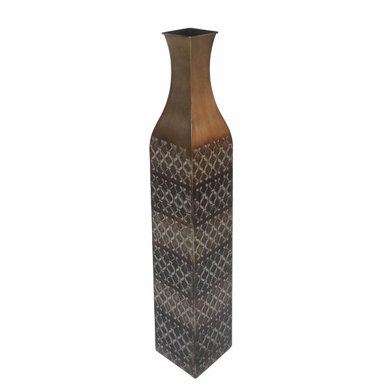 "32"" Black & Tan Square Metal Vase"