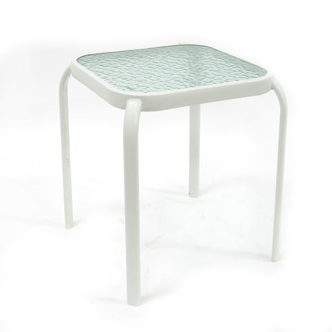 "16"" Side Glass Top Table White"