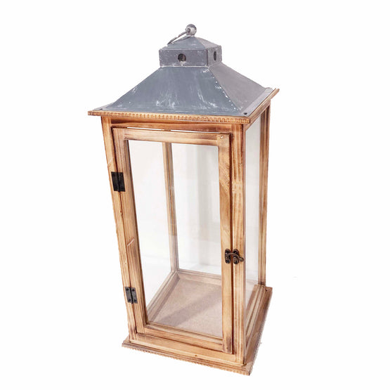 23 In. Natural Wood Lantern