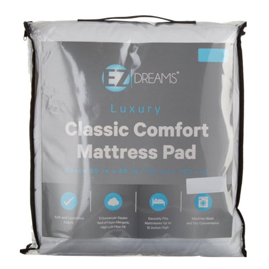 EZ Dreams Classic Comfort Mattress Pad (3 Sizes)