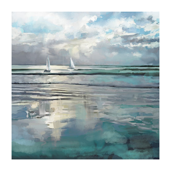 "35""x35"" Indigo Sea Embellished Canvas Art"