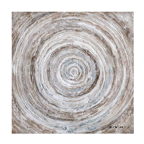 "32""x32"" Circle Abstract Embellished Canvas Art"