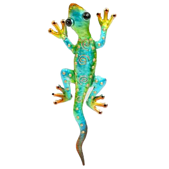 "14"" Blue/Green Metal Gecko Wall Décor"