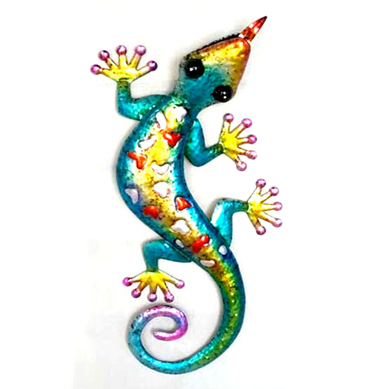 "21"" Blue/Yellow Metal Gecko Wall Décor"