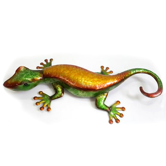 "21"" Orange/Green Metal Gecko Wall Décor"