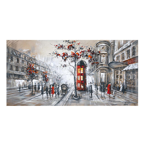 "24""X56"" London Scene Embellished Canvas Art"