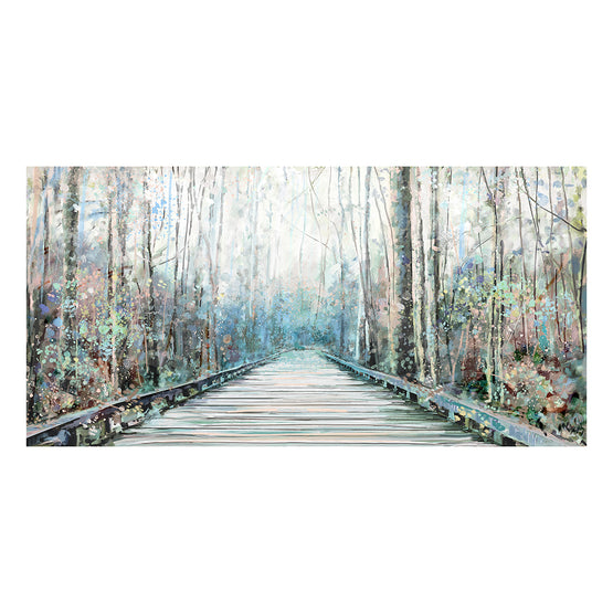 "24""x48"" Wooded Walkway Embellished Canvas Art"