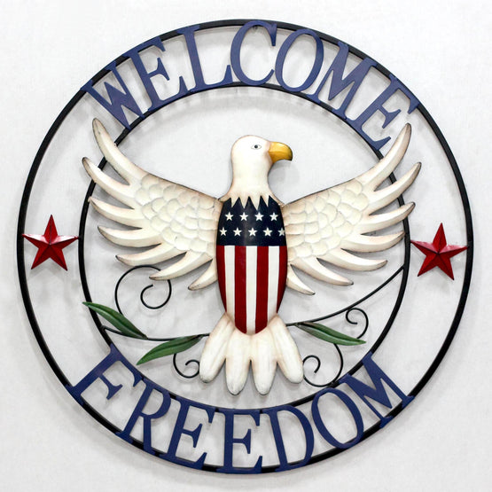 "28"" Welcome Freedom Metal Wall Décor"