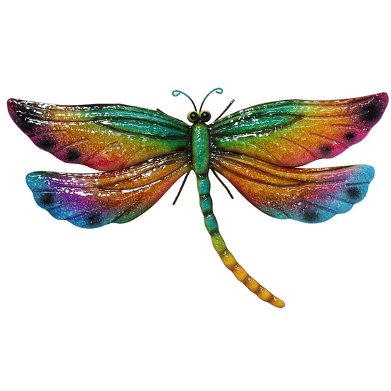 "25"" Multicolored Metal Dragonfly Wall Décor"