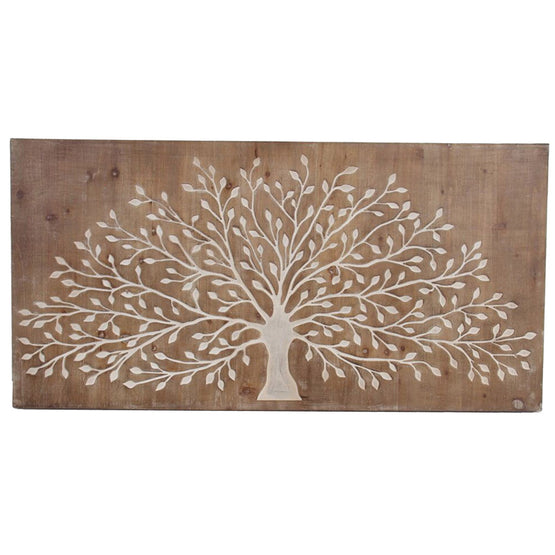 "47"" Carved Tree Wood Wall Décor"