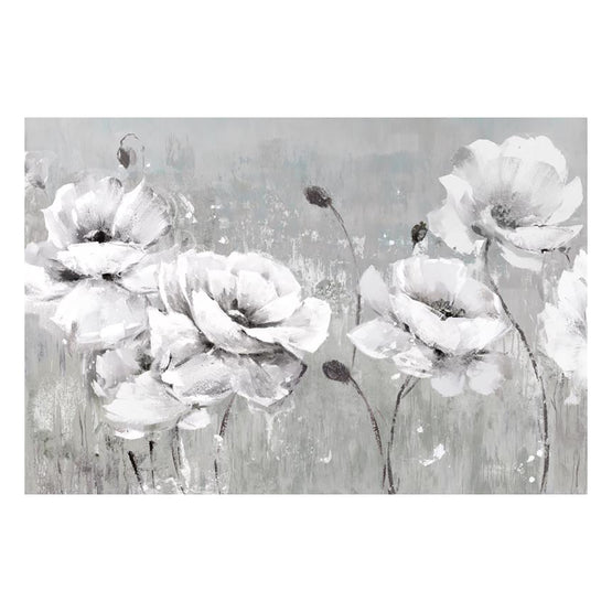 "24""x36"" White Poppies Embellished Canvas Art"