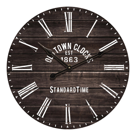 "24"" Brown Plank Look Wall Clock"