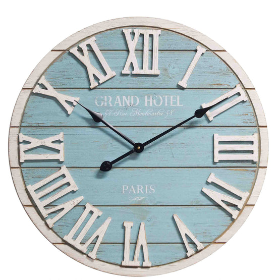 "24"" Blue and White Plank Look Wall Clock"