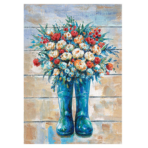 "20""x28"" Floral Boots Embellished Canvas Art"