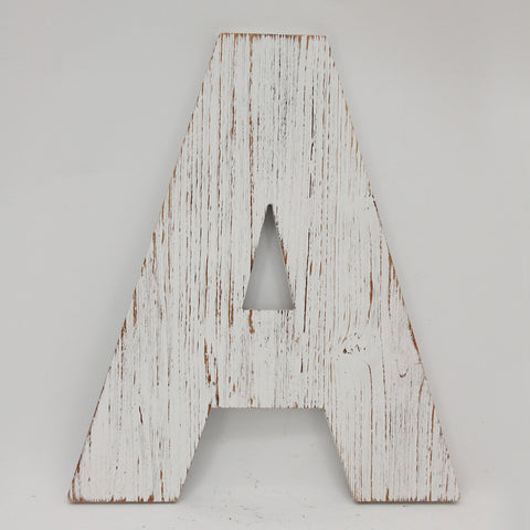 "16"" Distressed White Wood Wall Décor Letter (6 Letters)"