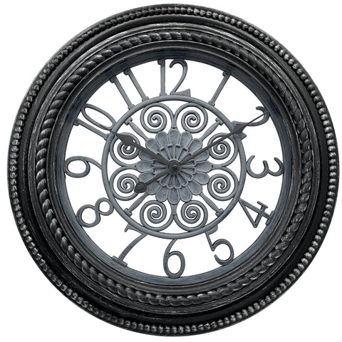 "20""  Black and Silver Round Wall Clock"