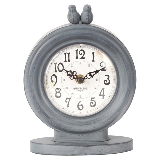 "6"" Grey Metal Table Clock"