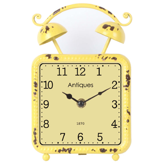 "8"" Distressed Yellow Metal Table Clock"