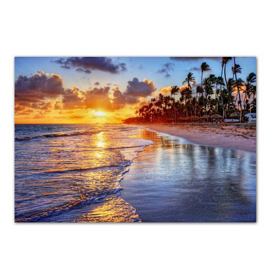 "24""x36"" Sunset Beach Photo Art Canvas"
