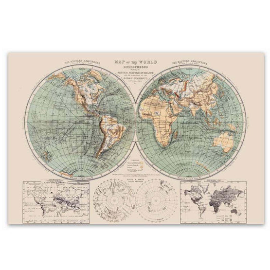 "24""x36"" World Map Canvas Art"