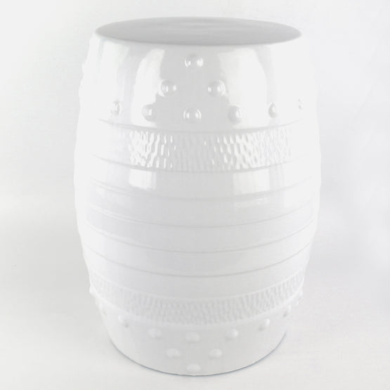 "17.5"" Ceramic Outdoor Garden Stool White"