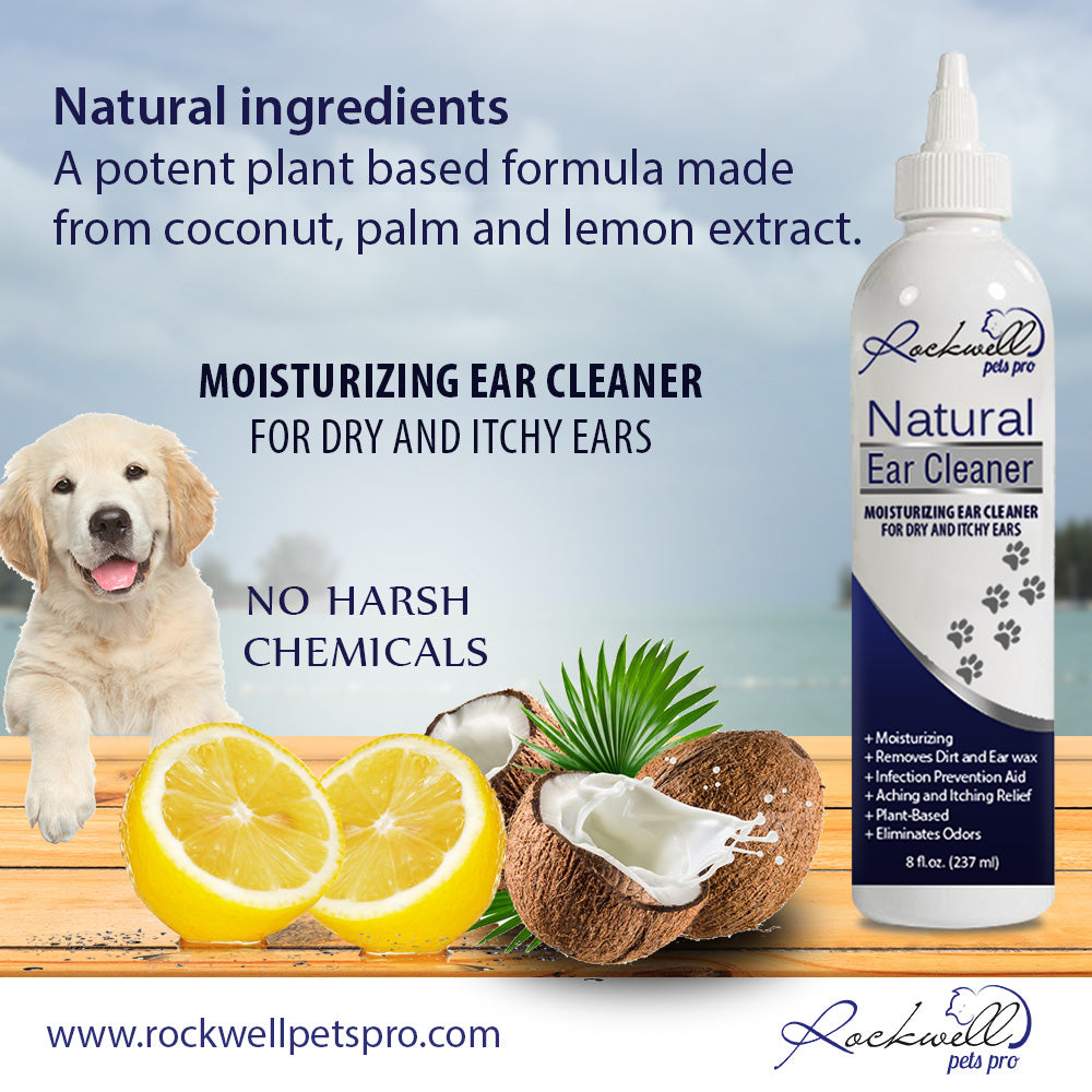 Rockwell Pets Pro Natural Dog Ear Cleaner