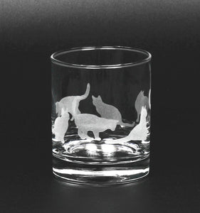 Etched Cat Glassware