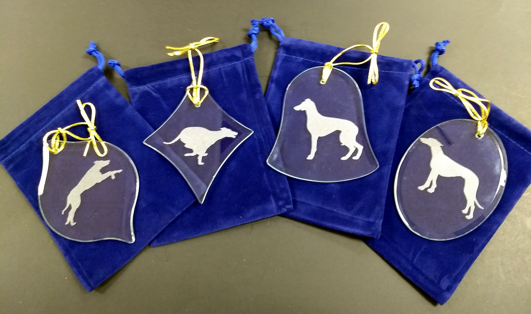 Greyhound / Whippet Crystal Christmas Ornament Set of 4