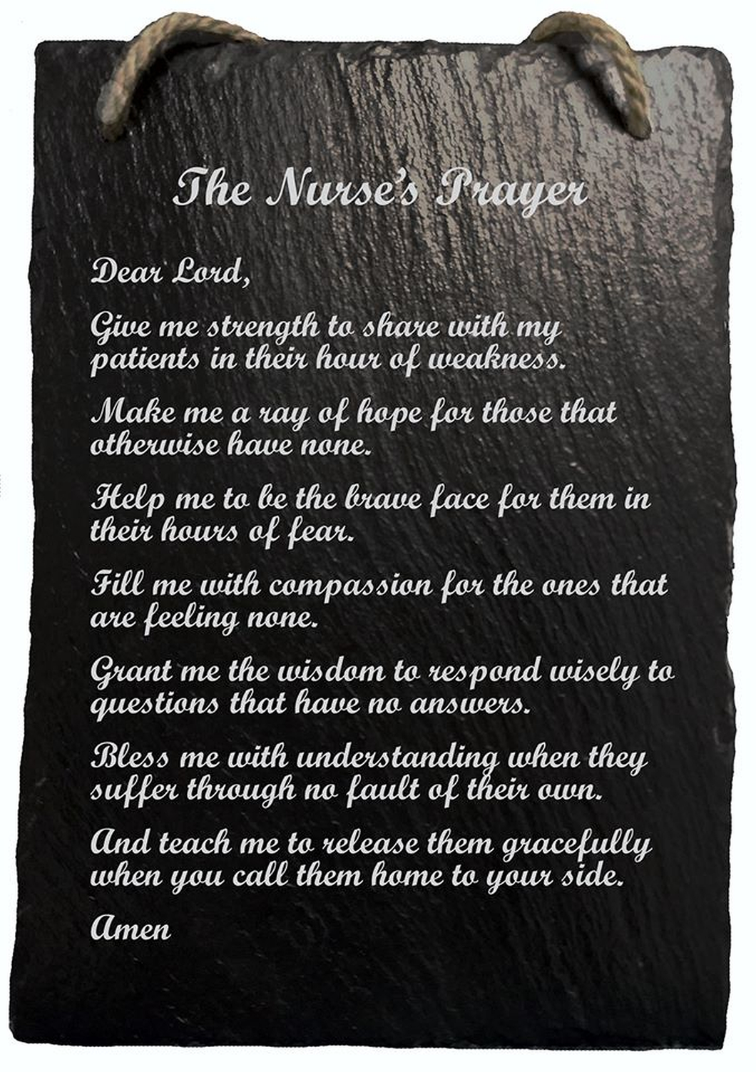 Nurse's Prayer Hanging Slate