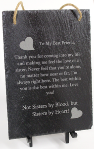 Sister By Heart Hanging Slate