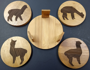 Alpaca Coasters (set of 4 with holder)
